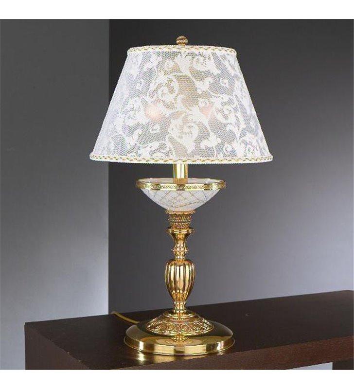 Złota lampa stołowa Taranto abażur