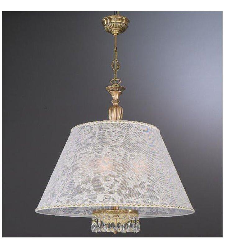 Lampa wisząca włoska Sirmione mosiężna abażur