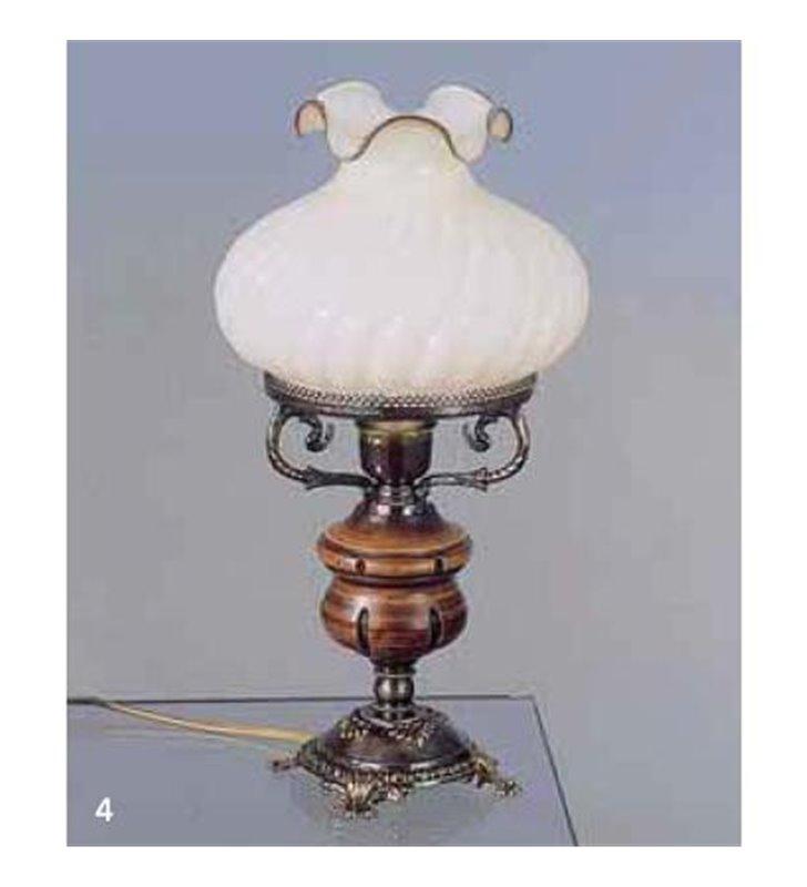 Lampa stołowa Empoli styl rustykalny jak lampa naftowa z elementami drewnianymi do salonu sypialni jadalni na komodę - OD RĘKI