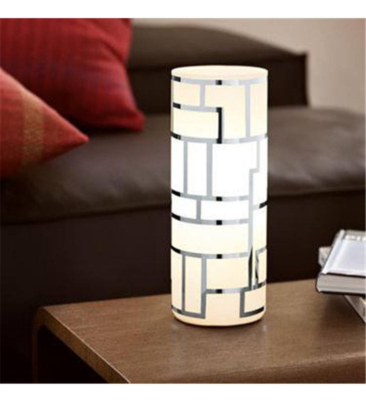 Mała szklana lampa stołowa Bayman z geometrycznym wzorem