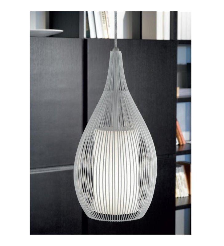 Lampa wisząca Razoni biała pojedyncza z podwójnym kloszem metalowym na zewnątrz i szklanym wewnątrz