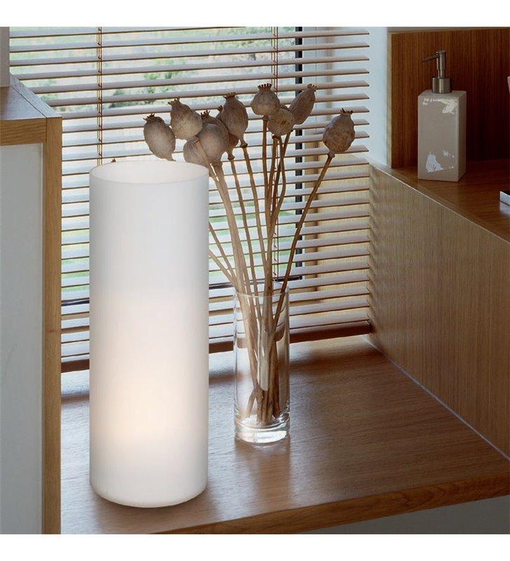 Lampa stołowa Geo szklana matowa opal włącznik na kablu