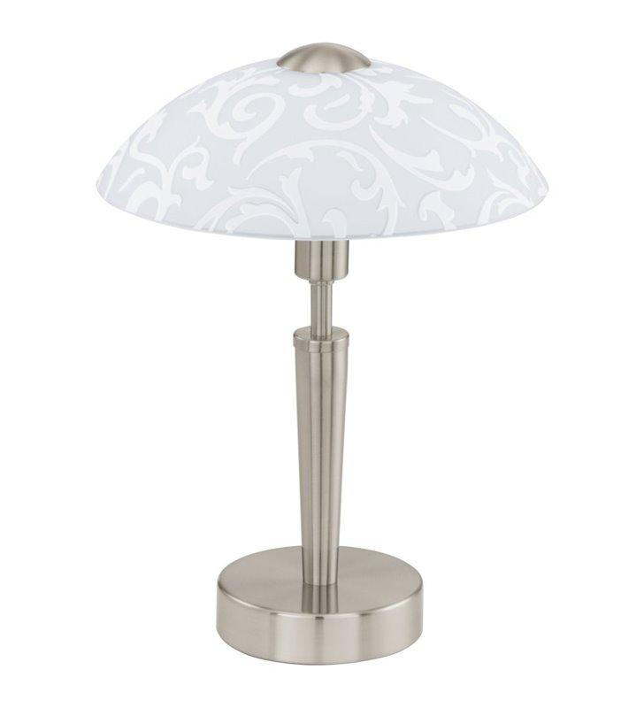 Lampa stołowa gabinetowa Solo1 kolor nikiel klosz szklany z motywem roślinnym z włącznikiem dotykowym