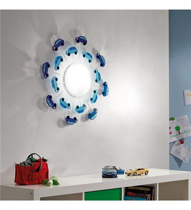 Lampa ścienno sufitowa Viki1 z niebieskimi samochodami do pokoju chłopca