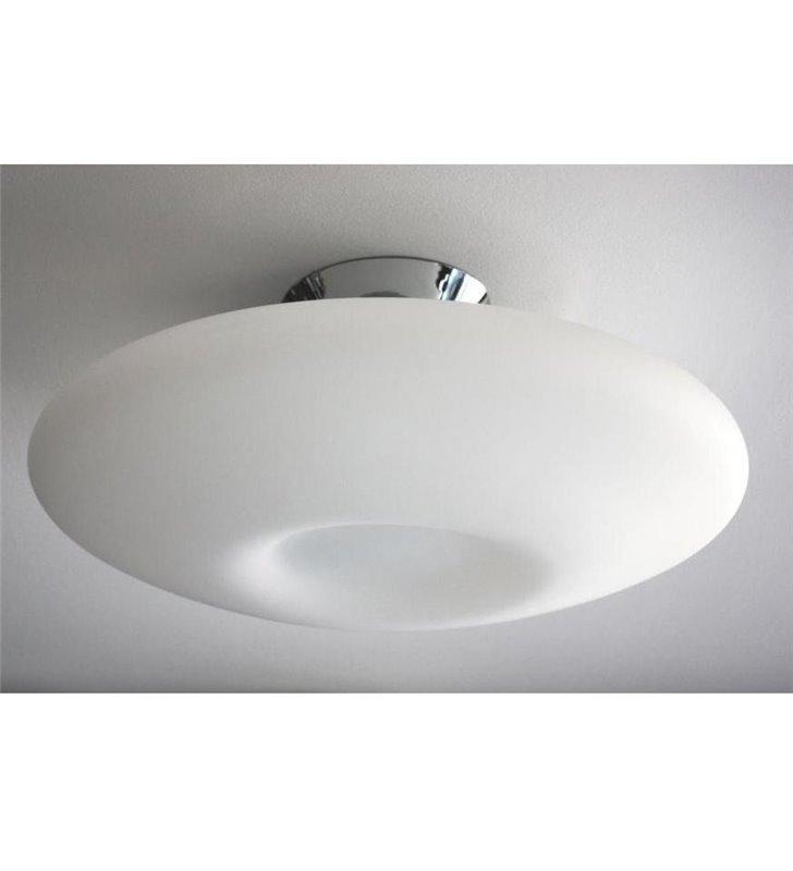 Duży biały szklany plafon Pires 600 okrągły