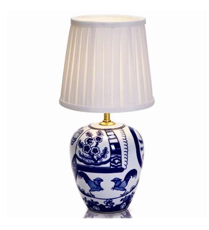 Lampa stołowa Goteborg stylowa klasyczna szklana biało niebieska podstawa z białym plisowanym abażurem