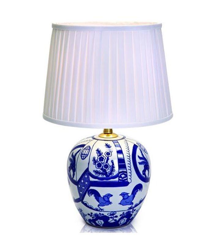 Lampa stołowa Goteborg stylowa z ceramiczną dekorowaną podstawą biały abażur tekstylny