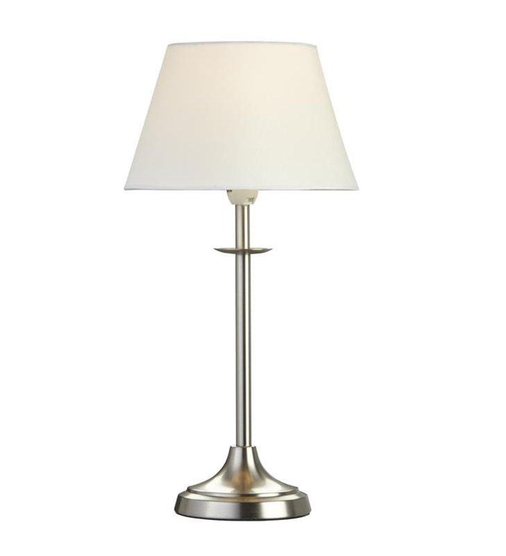 Lampa stołowa Koge stalowa podstawa z białym abażurem do salonu sypialni na komodę stolik nocny