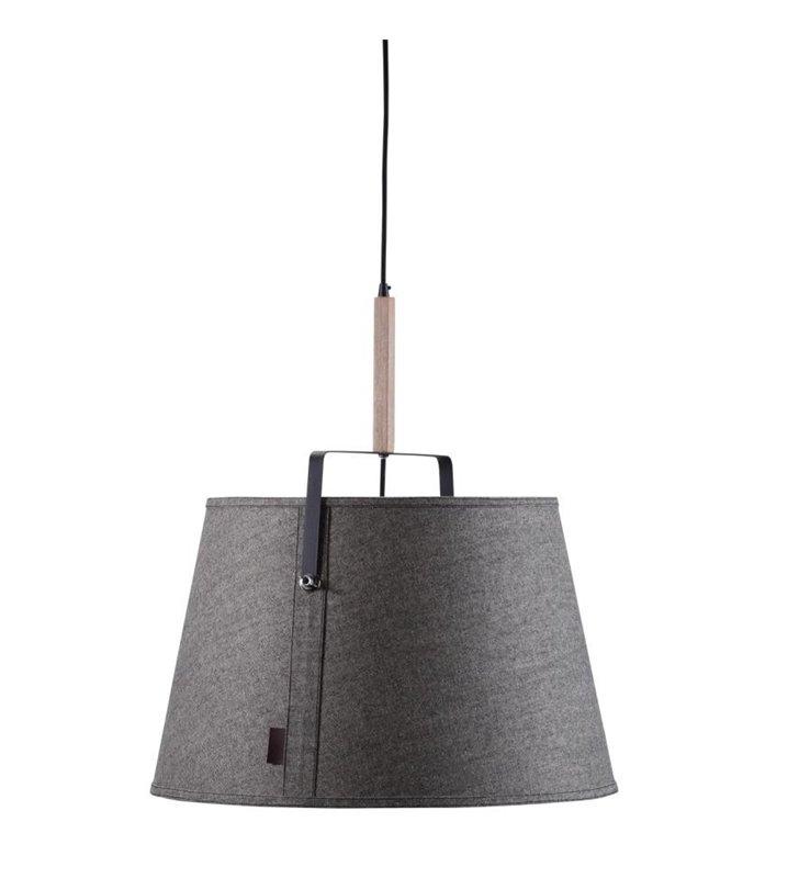 Nowoczesna designerska lampa wisząca Legend szara abażur element drewniany do salonu jadalni sypialni pokoju nastolatka