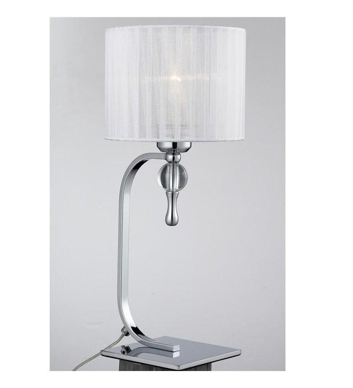 Lampa stołowa Impress biała abażur do sypialni salonu na komodę stolik nocny