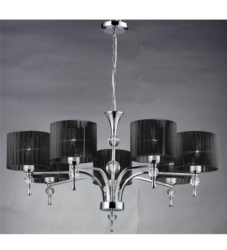 Elegancki czarny żyrandol 7 płomienny Impress do salonu sypialni jadalni