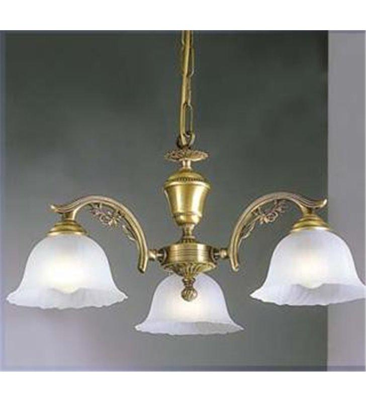 Żyrandol Florencja elegancki wysokiej jakości włoski wykonany z mosiądzu i szkła styl klasyczny - DOSTĘPNY OD RĘKI