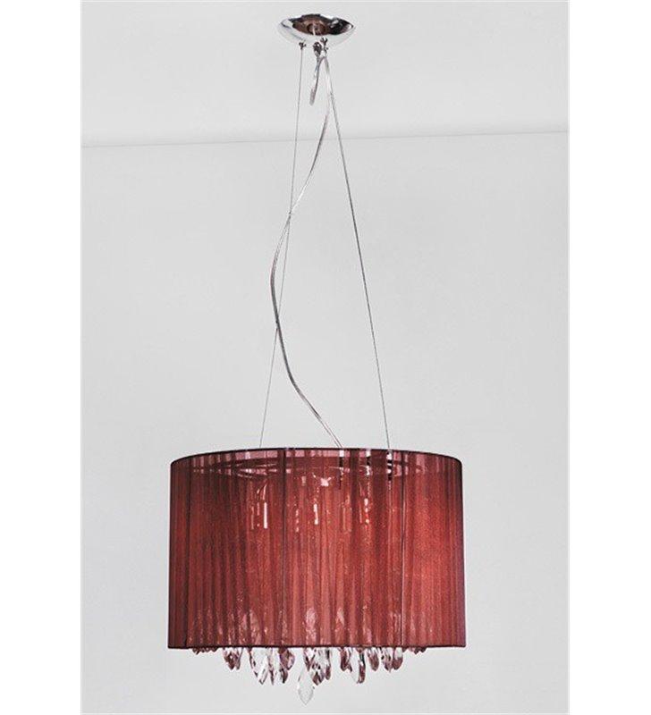 Lampa wisząca Sidney Brown brązowa materiałowa elegancka z akrylowymi zawiesiami