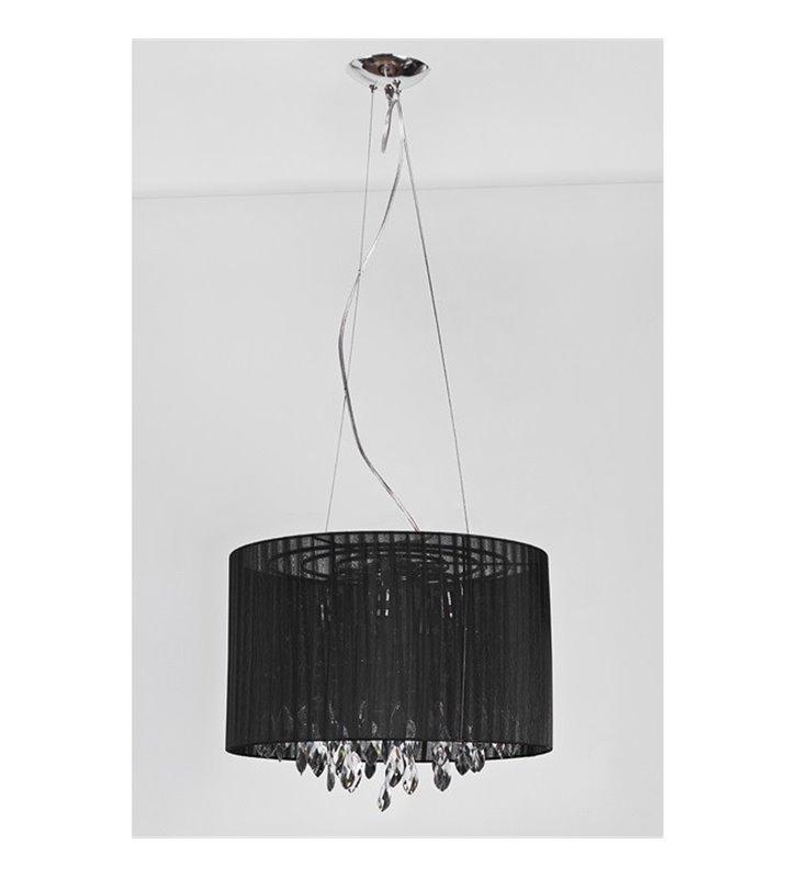 Lampa wisząca Sidney Black czarny okrągły abażur materiałowy z akrylowymi kryształkami