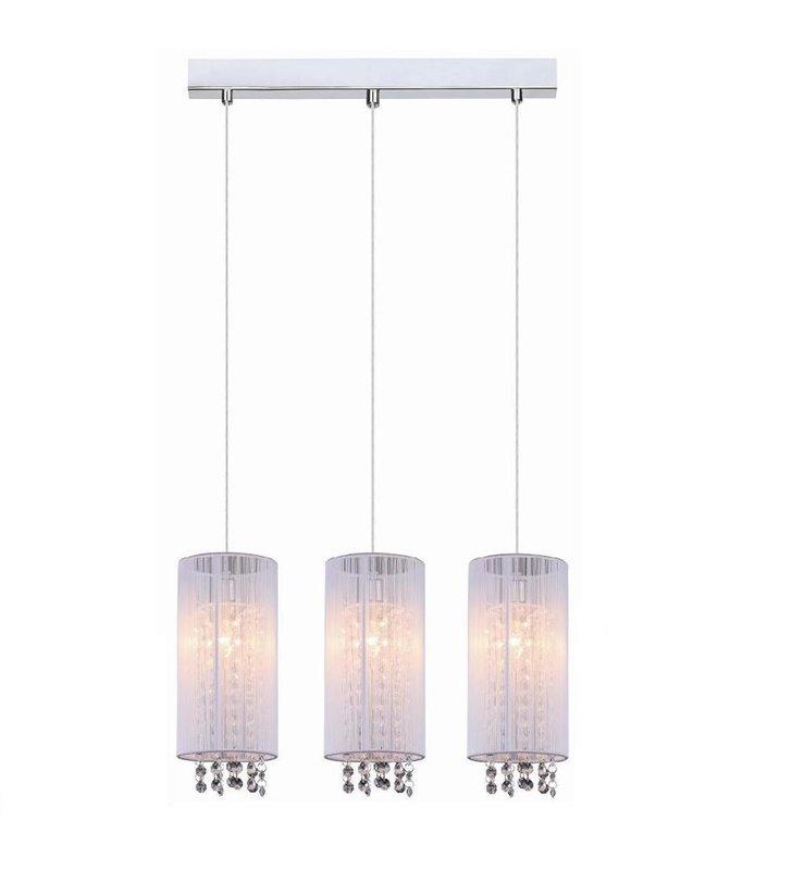 Potrójna wisząca biała lampa z kryształkami Lana