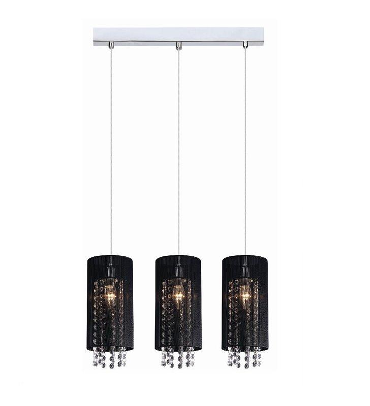 Potrójna elegancka czarna lampa wisząca Lana abażury ozdobione kryształkami