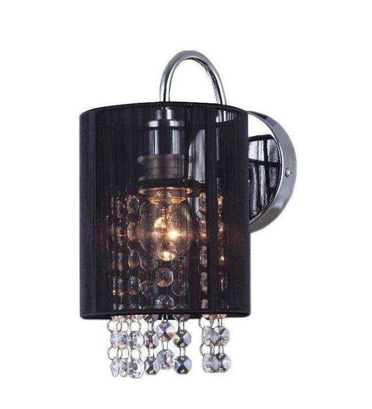 Kinkiet Lana czarny z materiałowym abażurem ozdobne kryształki