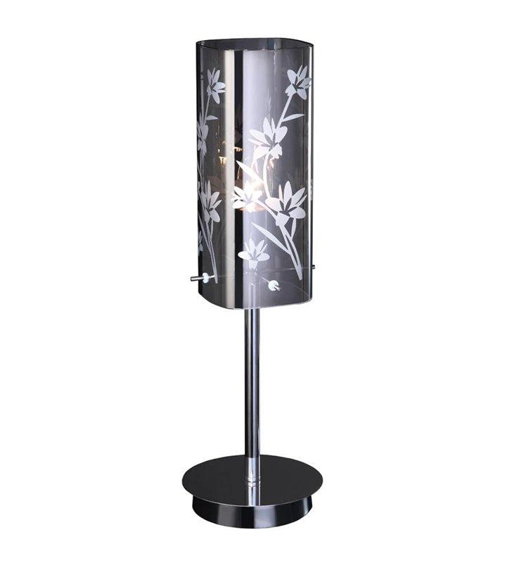 Lampa stołowa Yasmin z rośllinnym wzorem na szklanym kloszu
