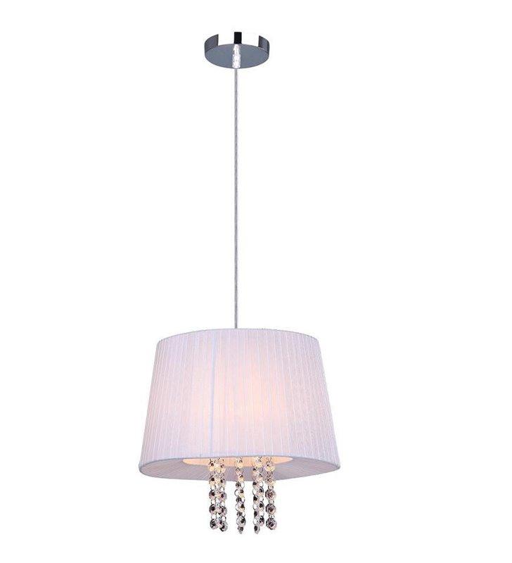 Lampa wisząca Luisa biała tkanina kryształki