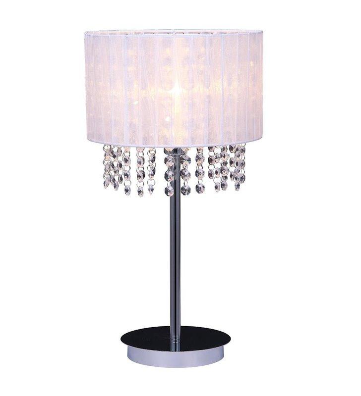 Biała lampa stołowa Astra kryształy przy kloszu