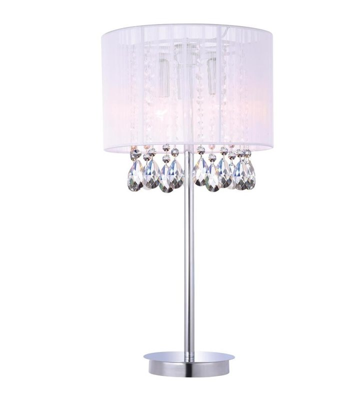 Lampa stołowa Essence biały abażur z kryształami podstawa chrom do salonu sypialni jadalni na komodę stolik nocny