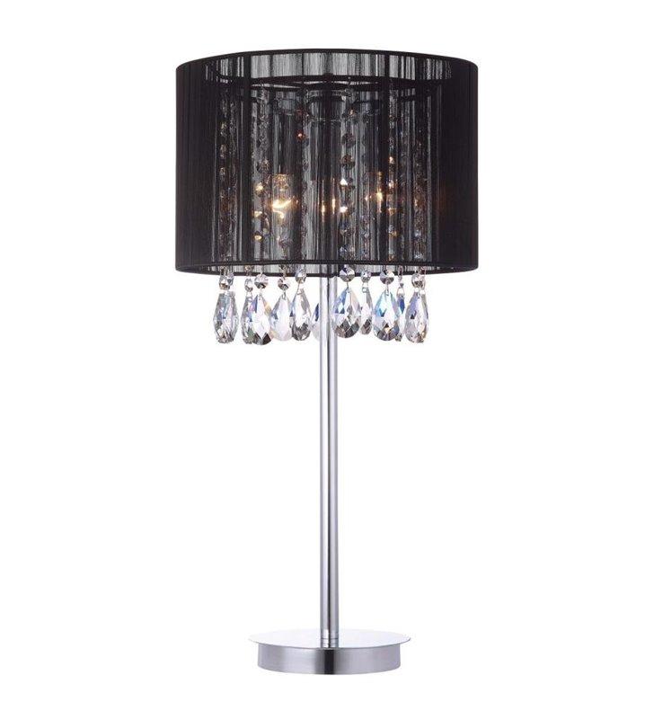 Lampa stołowa Essence czarny abażur ozdobiony kryształami do jadalni sypialni na komodę do salonu