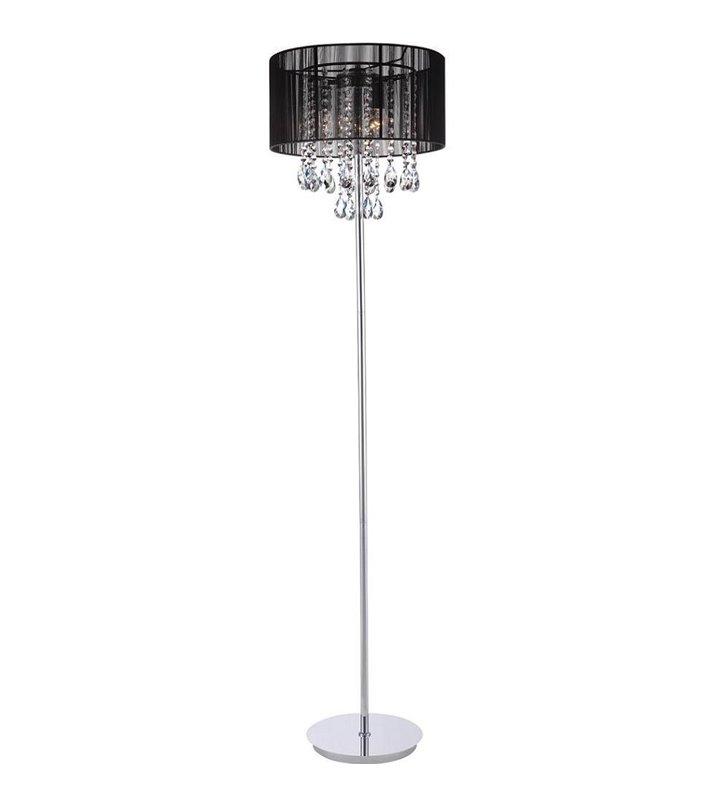 Lampa podłogowa Essence czarny abażur ze zwisającymi od wewnątrz kryształami podstawa chrom do salonu sypialni jadalni