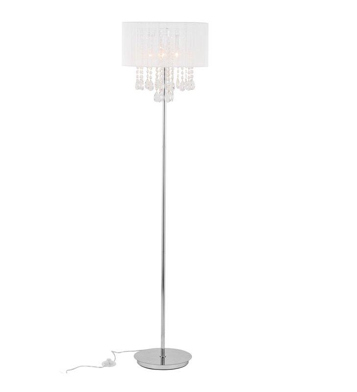 Lampa podłogowa Essence biały abażur z kryształami podstawa chrom do sypialni jadalni salonu na korytarz