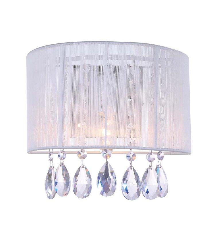 Kinkiet Essence biały abażur z kryształami do salonu sypialni jadalni na korytarz przedpokój