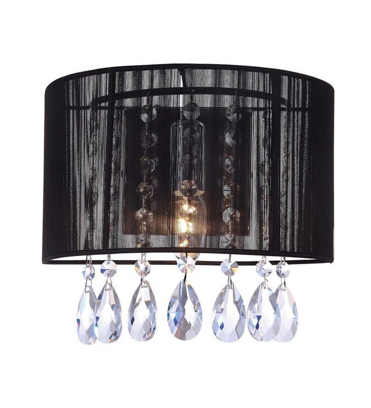 Kinkiet Essence czarny abażur z kryształkami do salonu sypialni jadalni na przedpokój - OD RĘKI