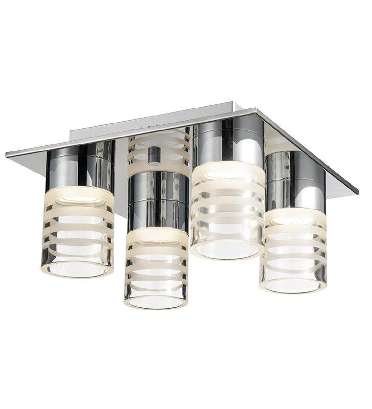 Lampa sufitowa Pixy LED 4 punktowa klosze okrągłe szklane w paski