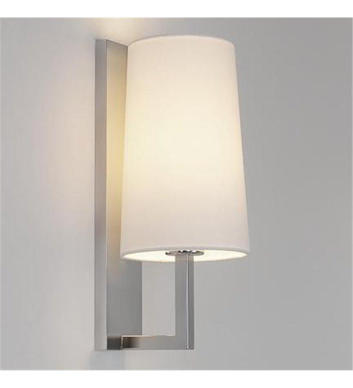 Elegancka lampa łazienkowa do lustra Riva nikiel matt szklany mleczny klosz