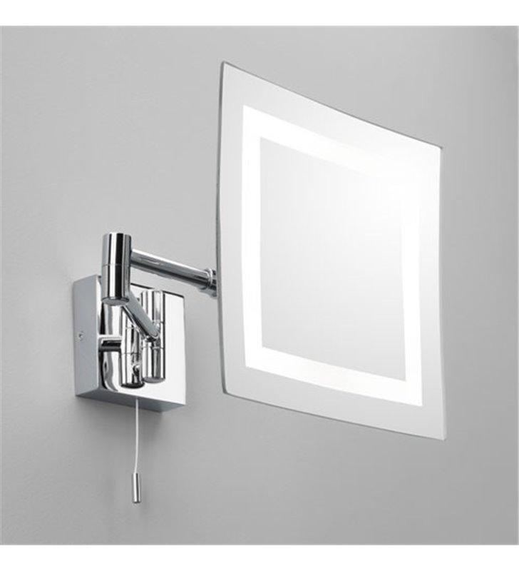 Kwadratowe lustro łazienkowe z oświetleniem Torino do makijażu włącznik ruchome ramię