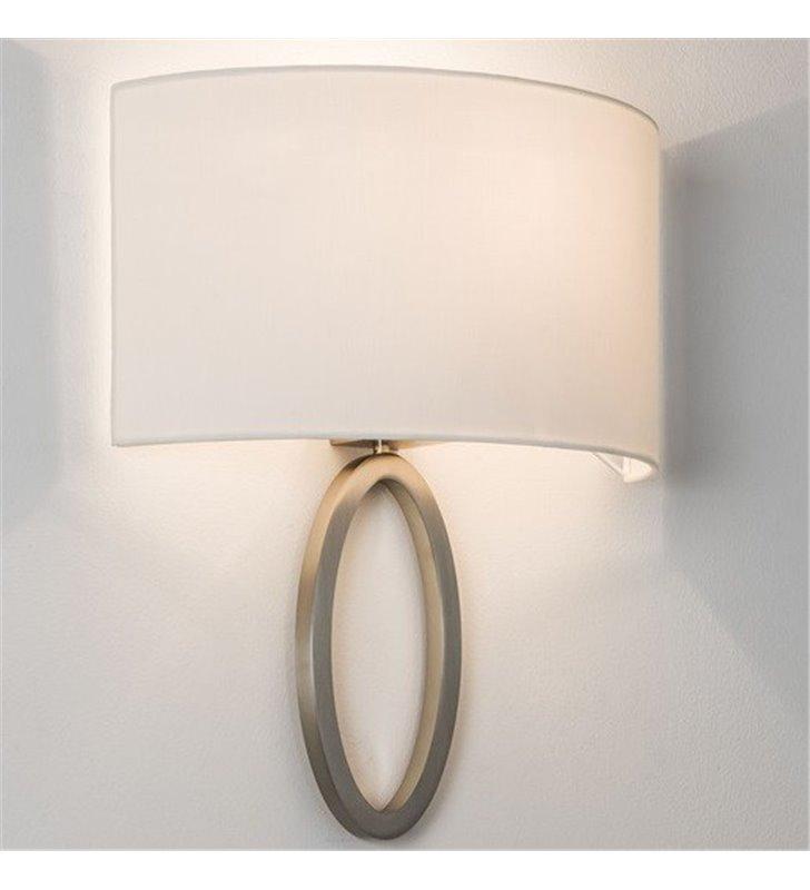 Kinkiet Lima nikiel mat biały abażur wysoka jakość nowoczesny do salonu sypialni jadalni na przedpokój