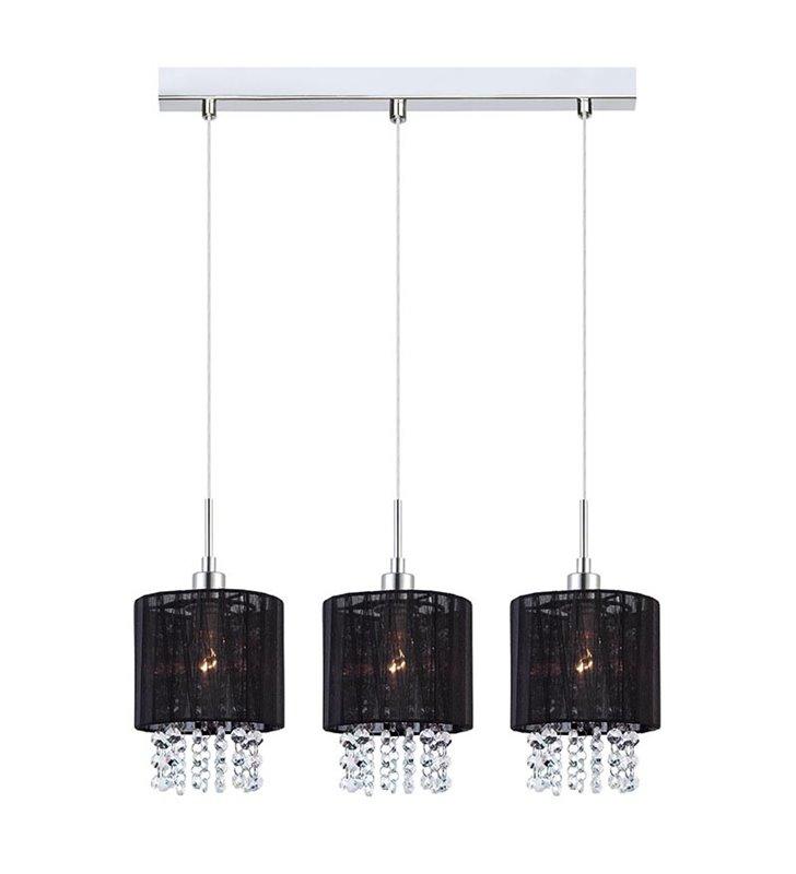 Lampa wisząca Astra 3 zwisy czarny abażur wewnątrz kryształy np. ad stół do jadalni