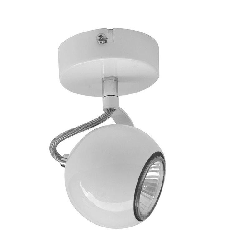 Lampa sufitowa Barker biała pojedyncza klosz kula