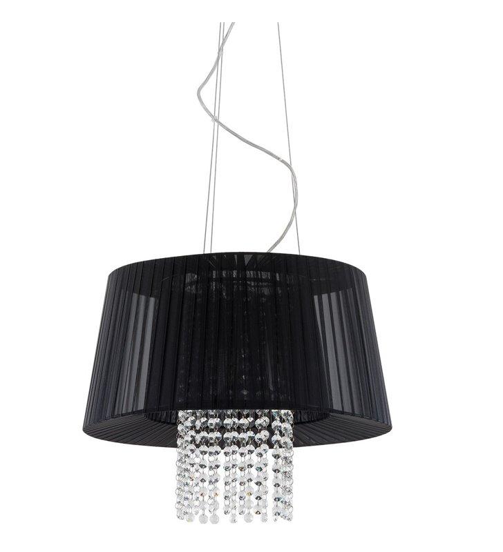 Lampa wisząca Luisa czarna tkanina kryształki