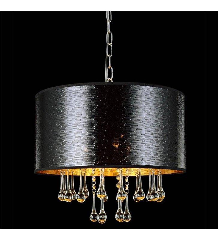 Lampa wisząca Sasha czarna okrągła ozdobiona podłużnymi kryształami do salonu sypialni jadalni
