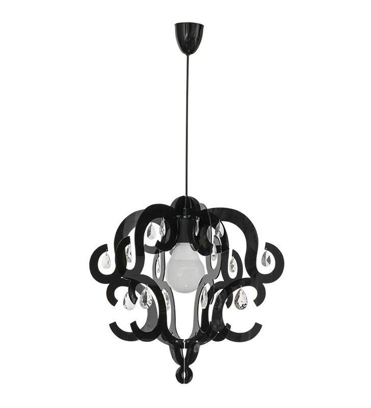 Lampa wisząca Katerina Black czarna klosz ozdobny z kryształkami