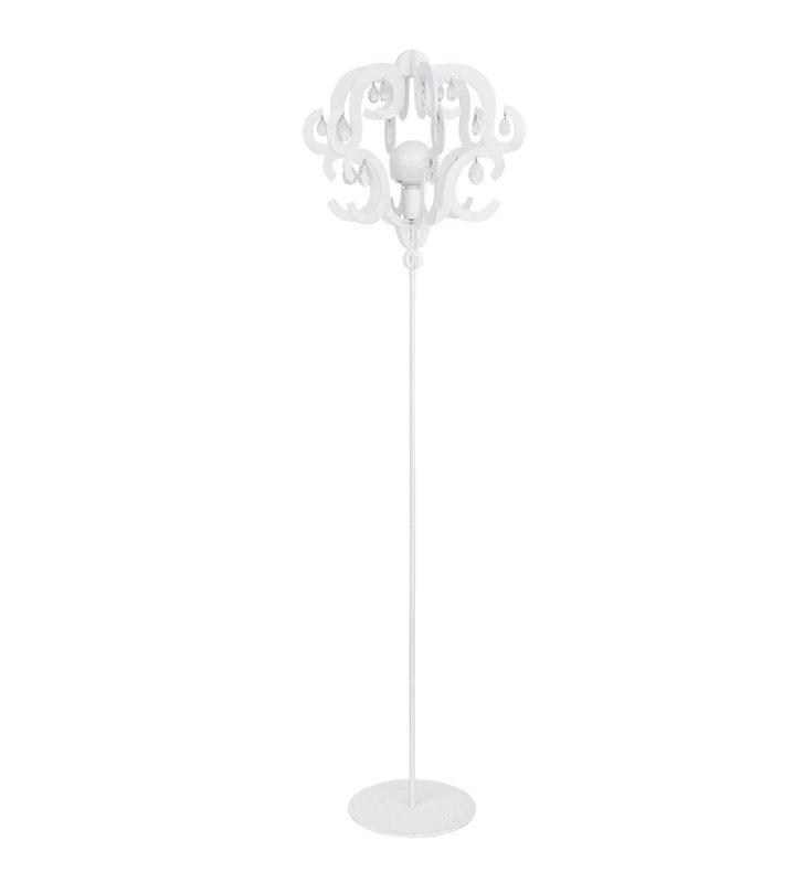 Lampa podłogowa Katerina White biała klosz o fantazyjnym kształcie z kryształkami - DOSTĘPNA OD RĘKI