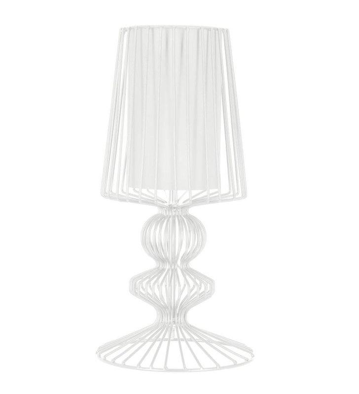 Lampa stołowa Aveiro biała druciana z podwójnym kloszem do salonu sypialni na stolik nocny komodę