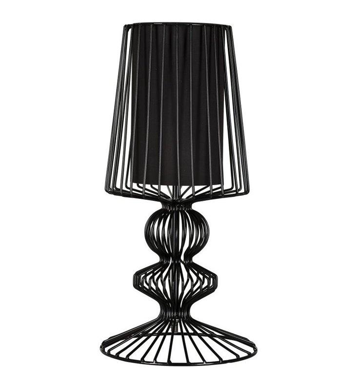 Lampa stołowa Aveiro czarna druciana z podwójnym kloszem do salonu sypialni na stolik nocny komodę