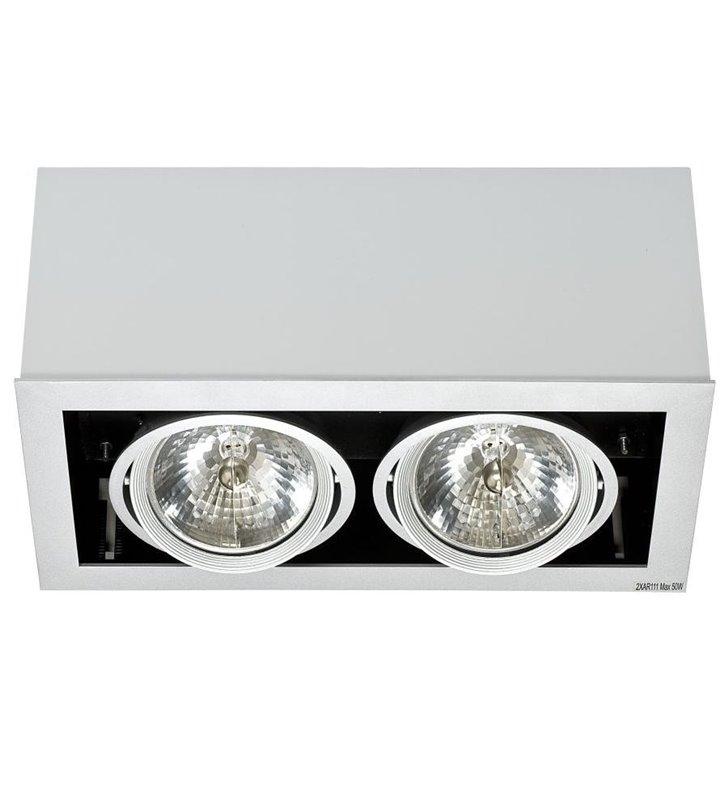 Lampa sufitowa Box Gray szara natynkowa podwójna downlight