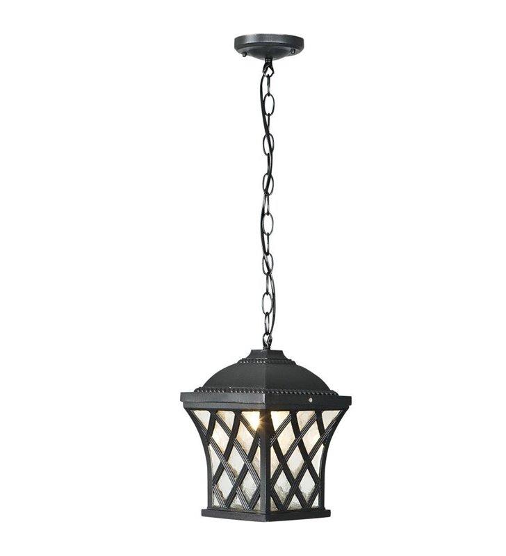 Lampa ogrodowa wisząca Tay czarna w stylu dworkowym