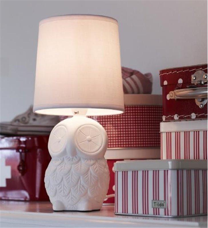 Lampa stołowa Helge podstawa biała ceramiczna sowa