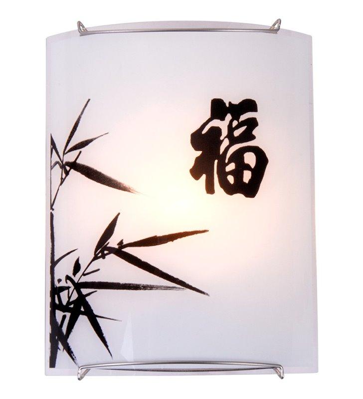Kinkiet Chimaira szklany w stylu orientalnym dekoracyjny wzór na kloszu do salonu sypialni na przedpokój - DOSTĘPNY OD RĘKI