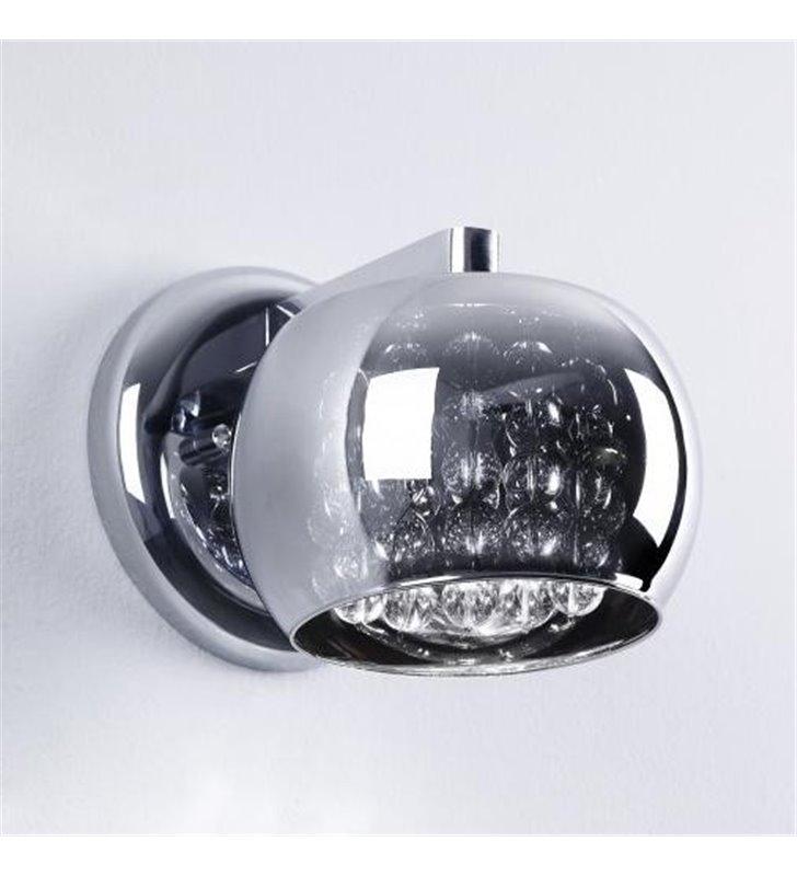 Kinkiet Crystal szklany klosz z bezbarwnymi kryształkami