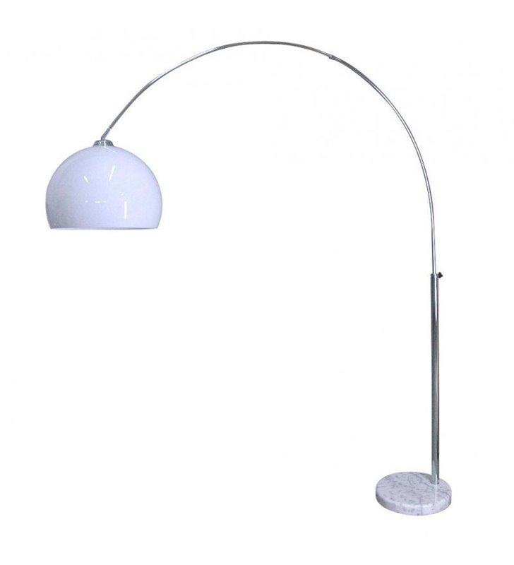 Lampa podłogowa Vision na wysięgniku regulacja wysokości i głębokości biały klosz i podstawa wykończenie kolor chrom