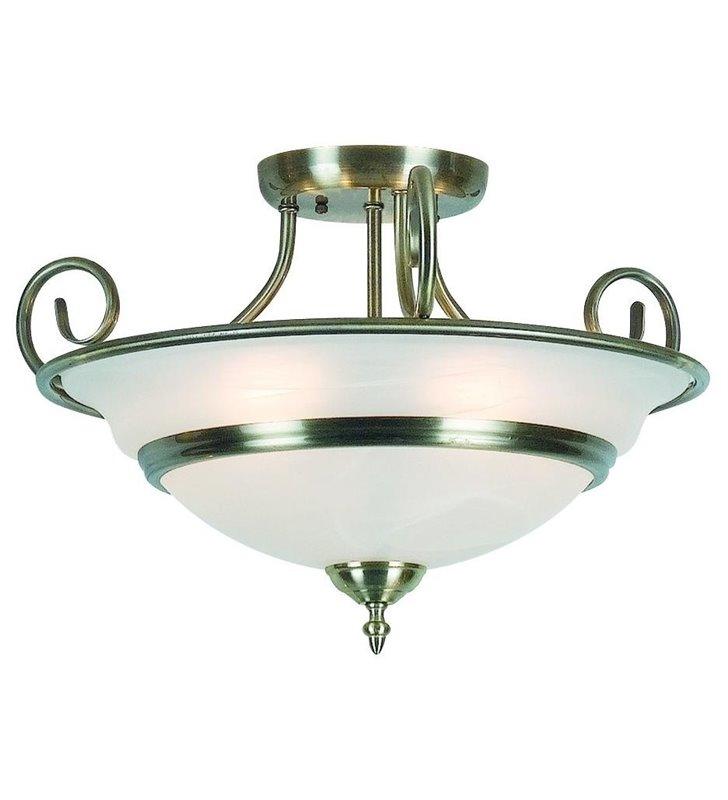 Lampa sufitowa Toledo klasyczna biały szklany klosz metal mosiądz antyczny