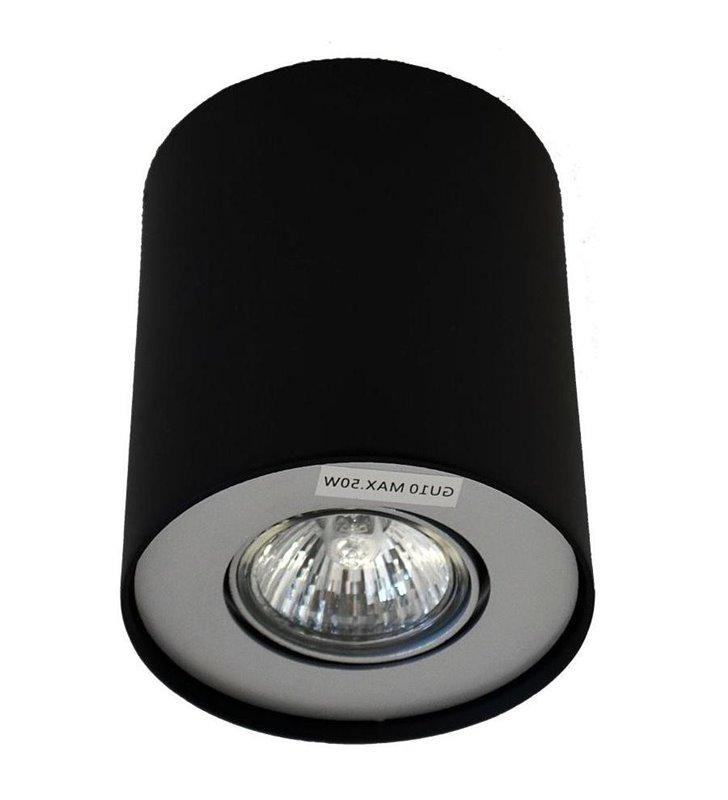 Pojedyncza lampa sufitowa natynkowa downlight Neos czarna z aluminiowym wykończeniem